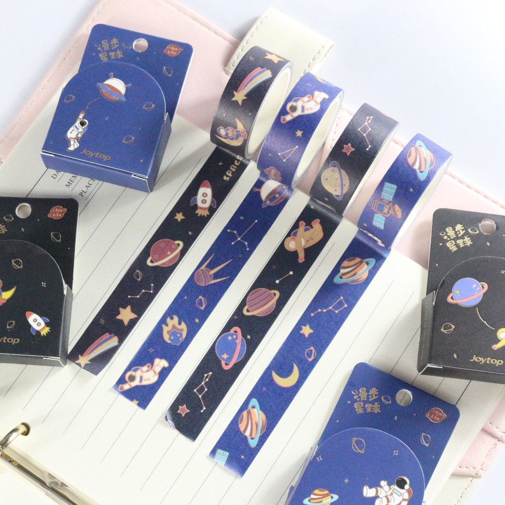 Domikee Cute Creative Cartoon Sky Star And Astronaut Decorative Washi Masking Tapes For Bullet Journal Diary Notebook Stationery