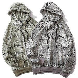 Image 3 - Männer Hip Hop Hoodie Sweatshirt Buchstaben Graffiti Streetwear Harajuku Pullover Hoodies 2019 Herbst Baumwolle Sweat Shirt Hipster Druck