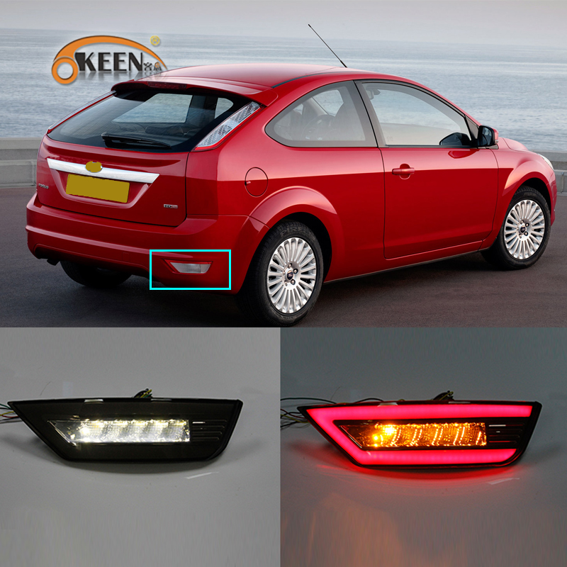 2Pcs Led Rear Bumper Reflector <font><b>Lights</b></font> For <font><b>Ford</b></font> <font><b>Focus</b></font> Hatchback Classic 2009 2010 2011 <font><b>2012</b></font> 2013 Rear Fog Brake Turn Signal Lamp image