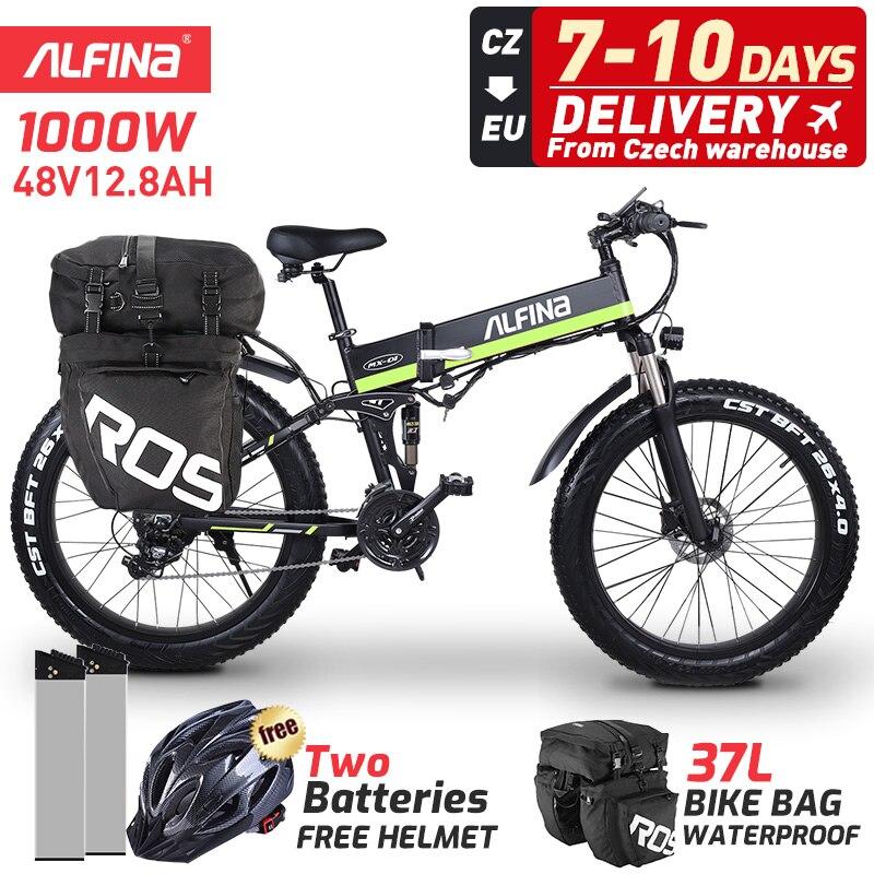 ALFINA 2021 Новый складной электрический велосипед 1000 Вт 48 В горный велосипед электрический велосипед для взрослых 26 Дюймов 4,0 толстые шины Элек...