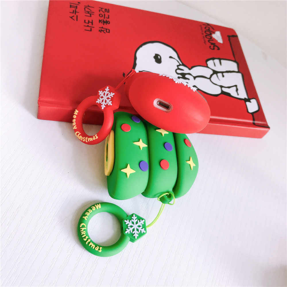 空気ポッドに適用 airpods2 クリスマスツリーシリコーン apple ワイヤレス bluetooth ヘッドセットケース保護シェルクリスマス funda