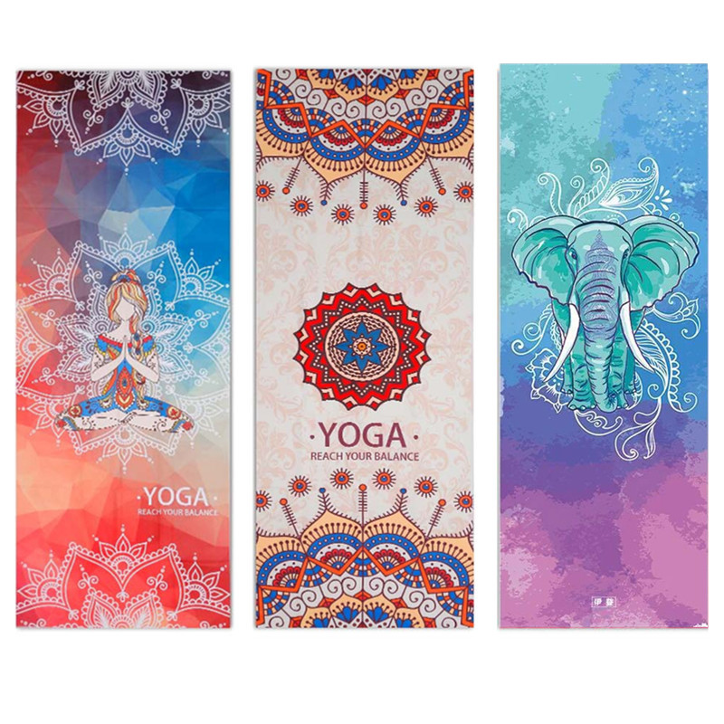 Printed Yoga Towel Microfiber 183*65cm Non Slip Yoga Blanket Absorb Sweat Yoga Mat Cover Towel Pilates Fitness Beach Mat Towel