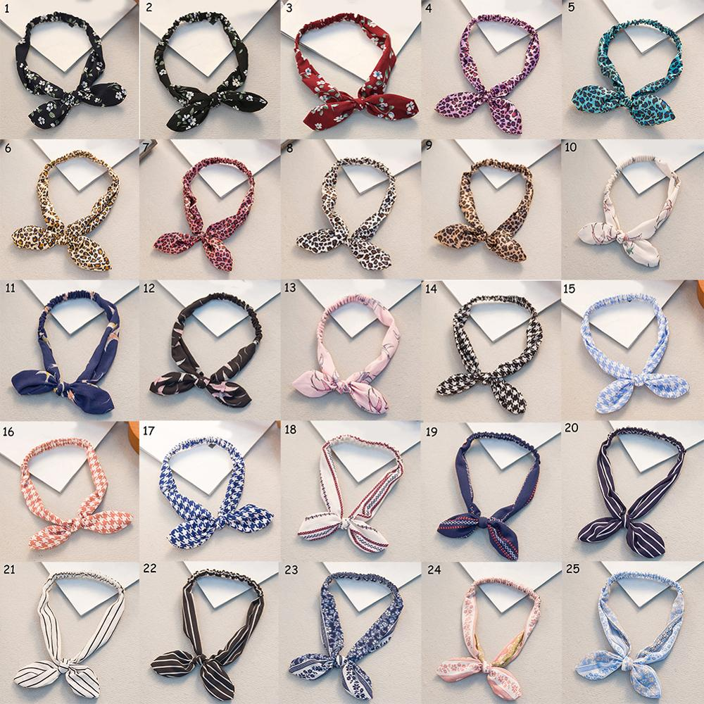1PC Elastic Adjustable Girls Headband Heart Print Gifts Flower Party Bowknot Wrap Scrunchy Hair Styling Tools Bandana Retro