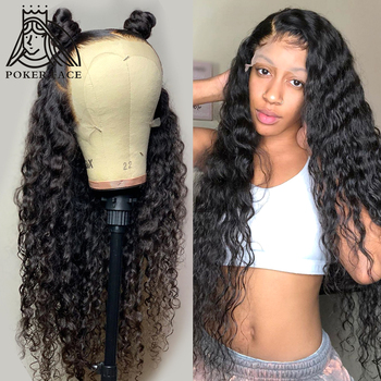 Poker Face 28 30 Inches Deep Wave 13x4 Lace Front Human Hair Wigs Pre Plucked Brazilian Lace Frontal Wig Water Wave Wig Curly Buy At The Price Of 51 50 In Aliexpress Com Imall Com