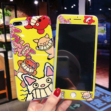 Cute Cat pig Blu-ray Phone Case Tempered Glass Film For iPhone X Case XR XS MAX 6 7 8 plus 360 Full Soft Cover+Screen Protector 100 pcs dental x ray film size 30 x 40mm for dental x ray reader scanner machine