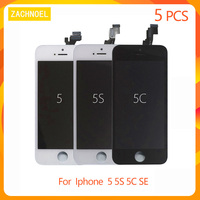 5 PCS high Quality Replacement for Iphone 5 5C 5S SE LCD Display Screen Part with Touch Digitizer Assembly Black and White