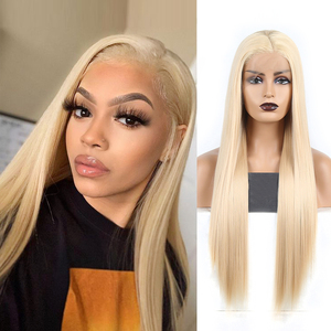 Charisma Blond Wigs Long Silky Straight Hair Synthetic Lace Front Wig Heat Resistant Wig Side Part Cosplay Wigs For Women(China)