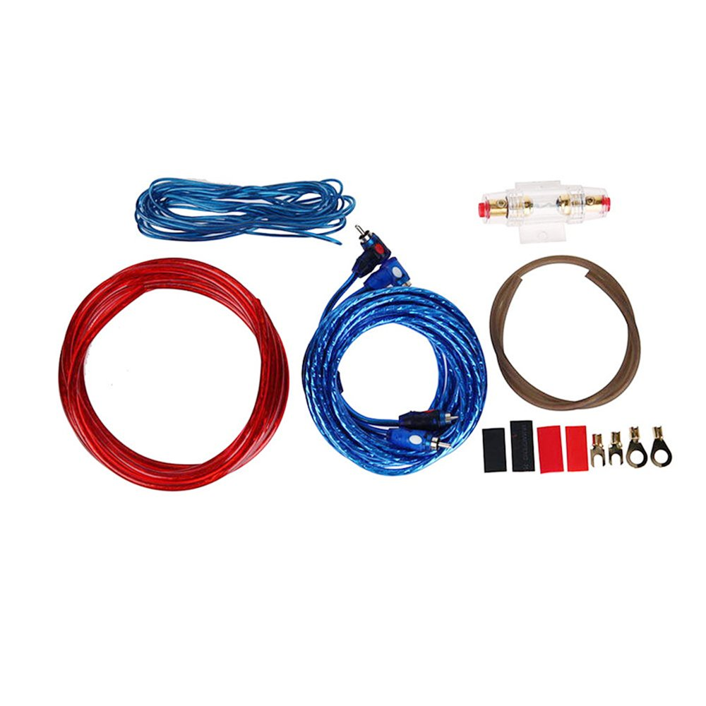 1 Set Car Audio Connected 8-10 Gauge Amp Wire Wiring Amplifier Subwoofer Speaker Installation Kit Power Cable Fuse Holder