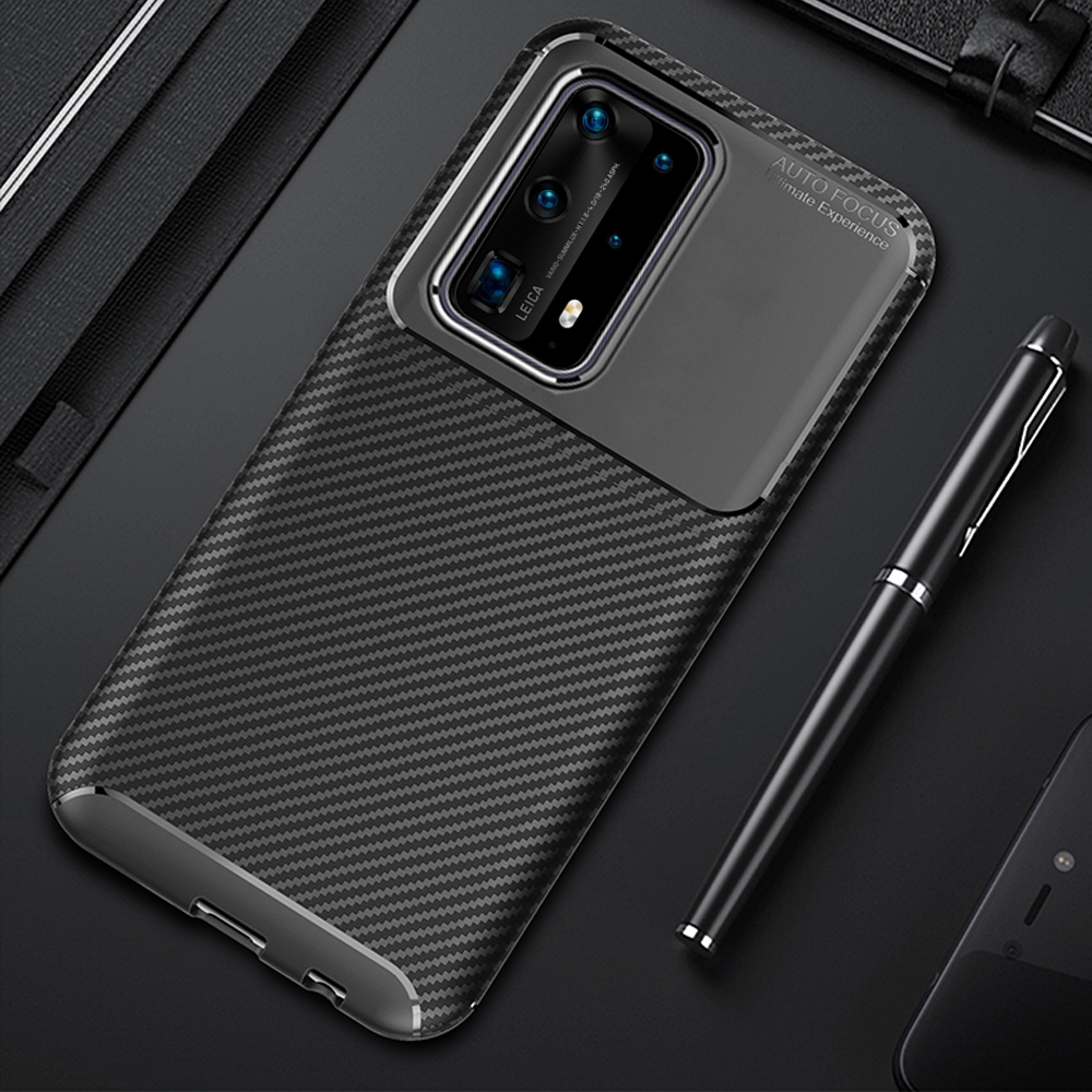 For Huawei P40 P 40 Pro Case Luxury Carbon Fiber Cover Shockproof Phone Case For Huawei P40 Pro+ Plus Cover Flex Matte Bumper