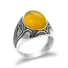 Real 925 Sterling Silver Men Ring with Yellow Natural Onyx Stone Ring Vintage Thai Silver Turkish Handmade Jewelry for Man Women(China)