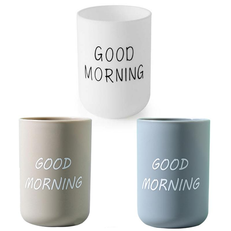 1PC Simple Nordic Travel Portable Washing Cup Home Bathroom Couple Plastic Good Morning Toothbrush Holder Cup Storage Cup 4
