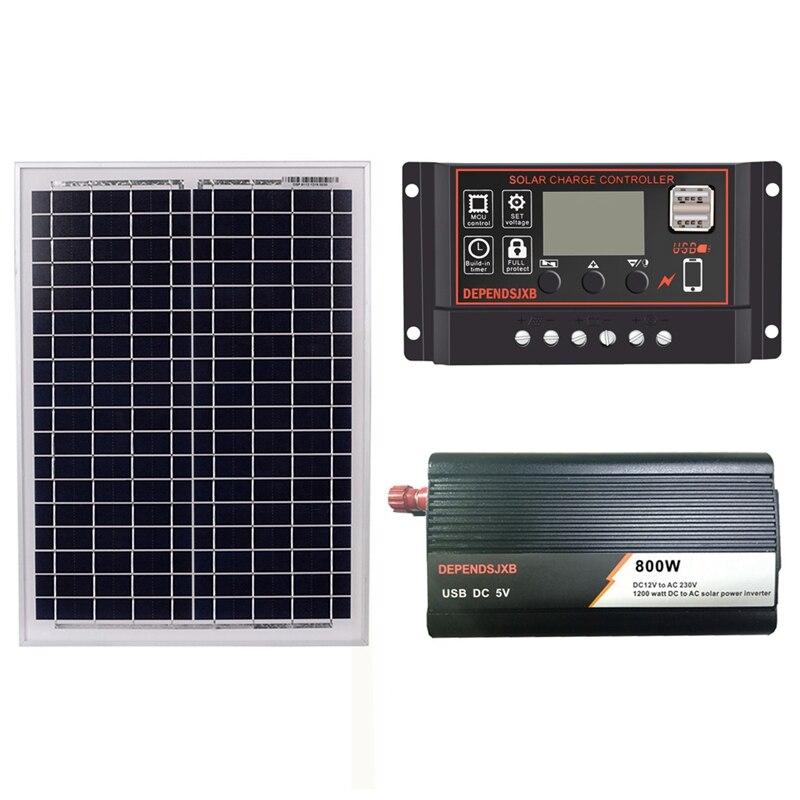 Tüketici Elektroniği'ten Güneş Pilleri'de 18V 20W GÜNEŞ PANELI + 12V 60A denetleyici + 800W invertör Dc12V Ac230V güneş enerjisi üretimi kiti  açık ve ev için title=
