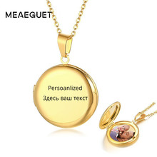 Personalized Locket Pendant Women Necklace Name Circle Stainless Steel In Gold Silver Lady Charm Inside Photo Can Open Jewelry(China)