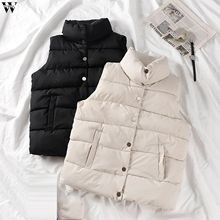 Warm Vest Jacket Padded Gilet Female Waistcoat Black Winter Sleeveless Cotton Stand-Collar
