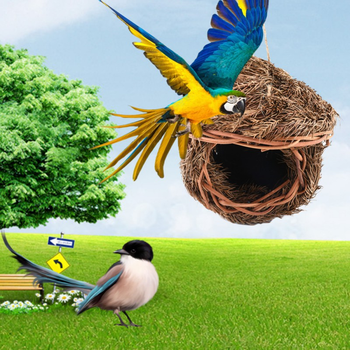 Bird Cage Accessories Decoration Hand Weave Bird House Parrot Hanging Swing Toys Ecology Nest
