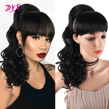 Deyngs Kinky Curly Ponytail With Bangs Synthetic Afro Drawstring Ponytail African American Heat Resistant Clip In Ponytail Hair charming shaggy tacos curly fashion highlight heat resistant synthetic long ponytail for women