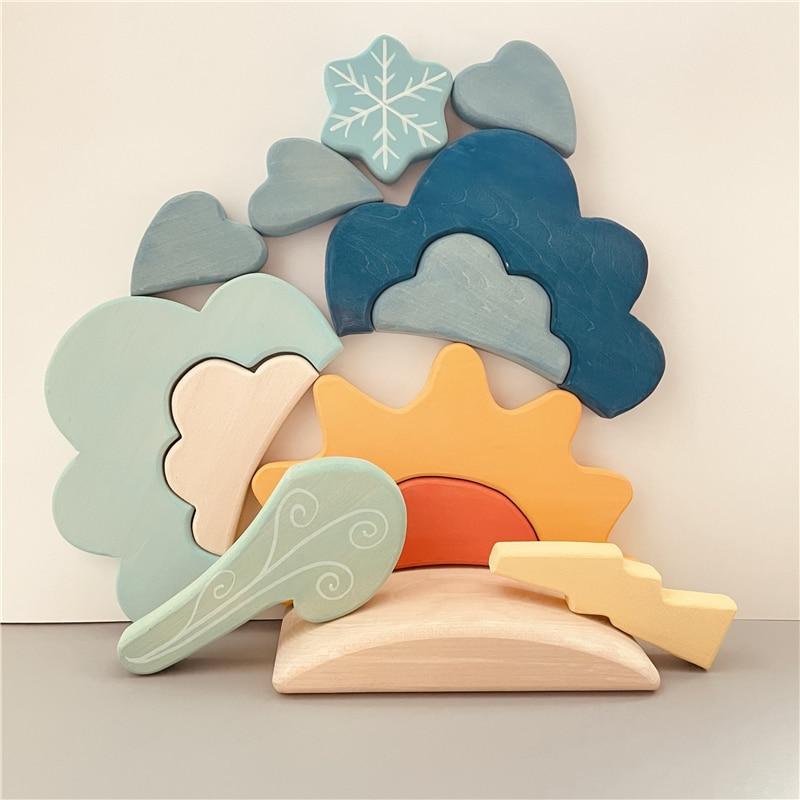Kids Weather Blocks Stacker Nordic Wood Toys Creative Blue Cloud Snow Sun Blocks Baby Montessori Educational Toys for Children