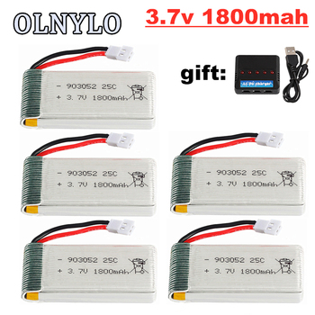 5pcs 3.7v 1800mAh lipo Battery and Charger for KY601S SYMA X5 X5S X5C X5SC X5SH X5SW M18 H5P for 3.7V Helicopter Drone Battery image