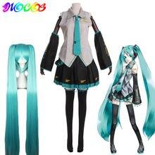 Diocos miku cosplay peruca trajes vestido feminino uniformes escolares para festa de halloween