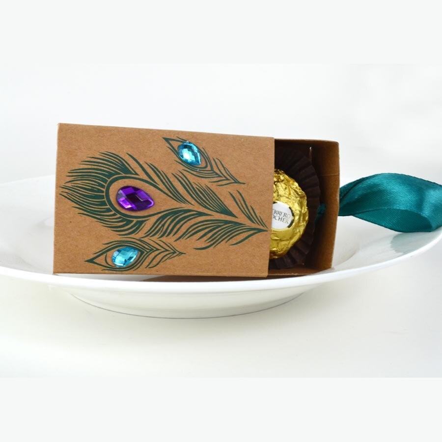 100 pièces Promotion! Paon Style faveurs de mariage Faux strass bonbons boîtes artisanat papier boîtes tiroirs retour présent cadeaux boîte