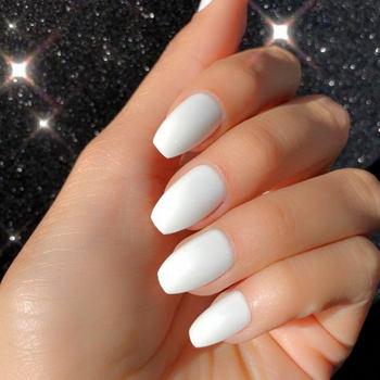 цена на White Coffin Fake Nails Short Impress Glossy Ballerina False Nails With Glue Sticker Artificial Plastics Faux Ongles Ballerine