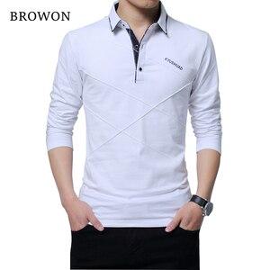 Image 2 - BROWON Offre Spéciale T shirt hommes T shirt Long à rayures rabattues T shirt design coupe mince décontracté coton T shirt mâle grande taille