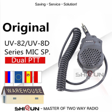 Dual PTT Earpiece MIC Speaker UV 82 UV 8 UV82L UV 89 UV 82 Plus UV 82TP GT 5TP UV 82HP UV 82HX Microphone for UV 8D UV 82 UV82
