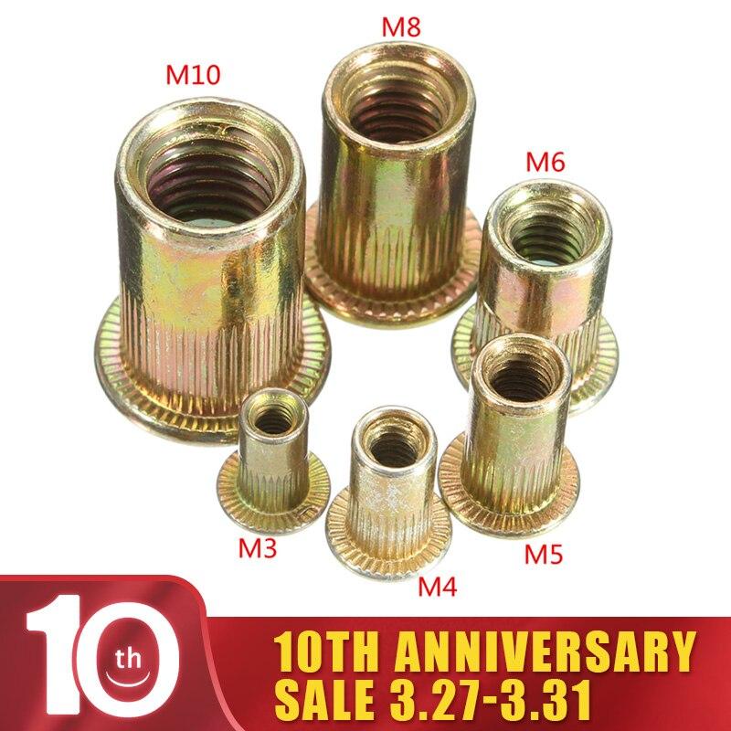 10/20 قطعة/المجموعة M3 M4 M6 M8 M10 شقة رئيس الكربون الصلب برشام المكسرات برشام المكسرات مجموعة المكسرات إدراج التثبيت