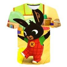 Cute Animal Rabbit 3D Print Casual T-Shirt Boys Girls 2021 New Cartoon Bing Fashion O-Neck Tops Interesting Clothing 4T-14T