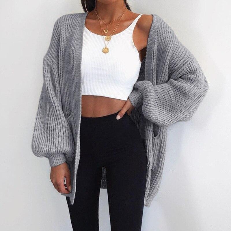 Autumn Cardigan Sweater Women Fashion Solid Knitting Sweaters Female Causal Plus Size V-Neck Streetwear Jumper Jacket Coat 2019