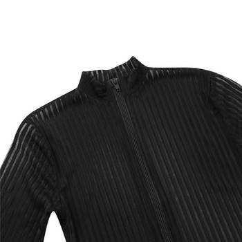 2020 XS-8XL Women Black Striped Sheer Bodysuit Smooth Fiber 2 Zipper Long Sleeve Jumpsuit 6