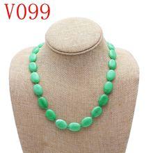 Ожерелье из натурального зеленого халцедона модная трендовая