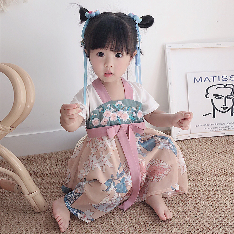 Summer New Style Chinese Clothing Women's Chinese-style Printed Dress Little Girl Costume Antique Style Children's Fairy Skirt R