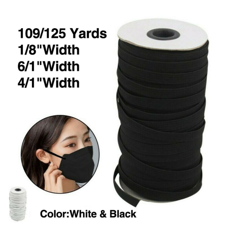 109/125 Yards Length DIY Braided Elastic Band Cord Knit Band Sewing 1/8 1/6 1/4in Mask Accessories