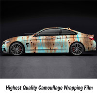 Highest quality  ust Camouflage Vinyl Film Car Wrap Foil Adhesive top quality high definition printing rust vinyl wrapping film