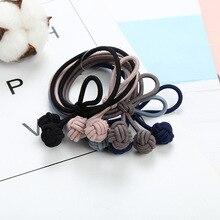 Banda de pelo anudada elástica de 5 colores hecha a mano dos bolas trenzadas mujeres chicas cuerda de pelo lazos de goma de alta elasticidad