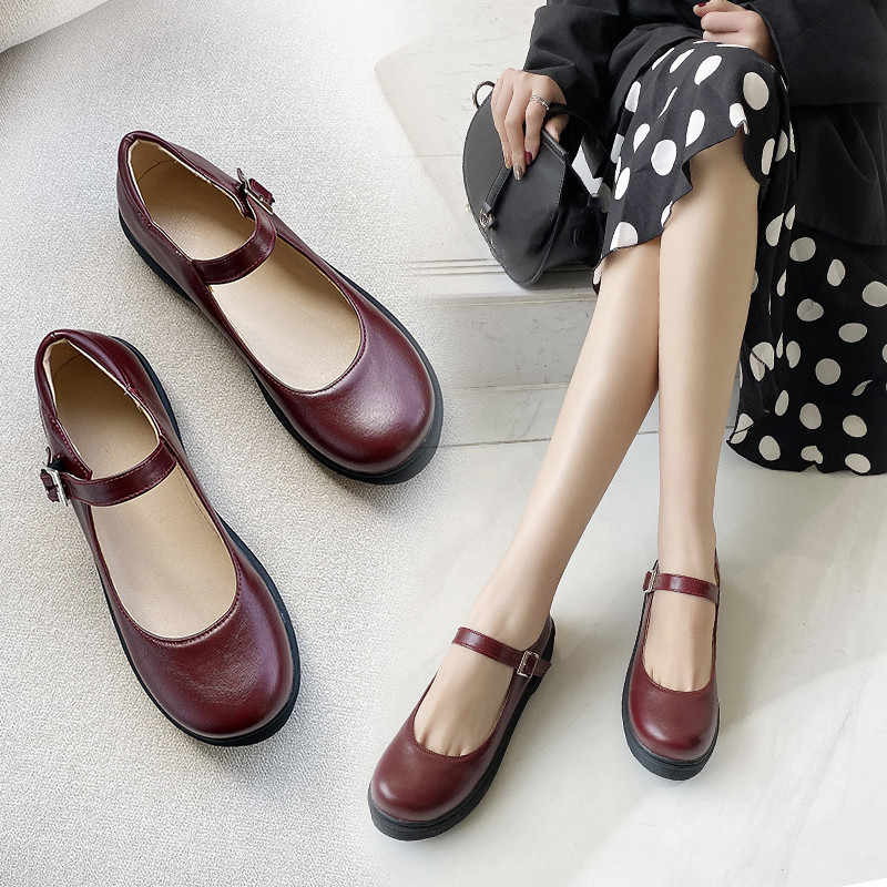YMECHIC Vintage Rome Student Shallow Mary Jane Shoes Low Chunky Heels Black Brown Wine Red Low Heel Pumps Large Size Shoe Spring