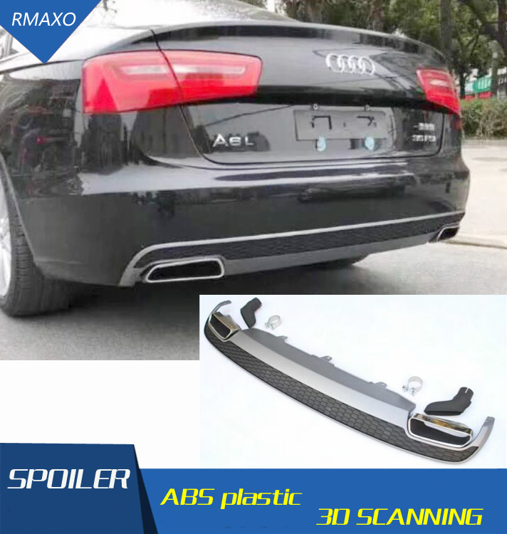 For Audi A6 S6 Body kit spoiler 2012-2015 For Audi A6 RS6 ABS Rear lip rear spoiler front Bumper Diffuser Bumpers Protector image