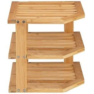 Бамбуковая угловая полка для кухни сумка для хранения-полка угловой шкаф для хранения ящиков для тарелок и чаш набор деревянный 3-слойный уг...