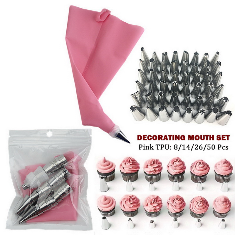 Pastry-Bags Cream Tips Cake-Decorating-Tools Pink Silicone Reusable No 48 50pcs