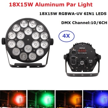 4Pcs/Lot  Aluminum Alloy LED Flat Par 18X15W Lighting DJ Par Cans Aluminum Alloy DMX 512 Light DMX Dj Wash Lighting Stage Light chauvet dj dmx an