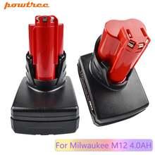 Powtree 12 В 4000 мАч для milwaukee m12 red power tool li ion