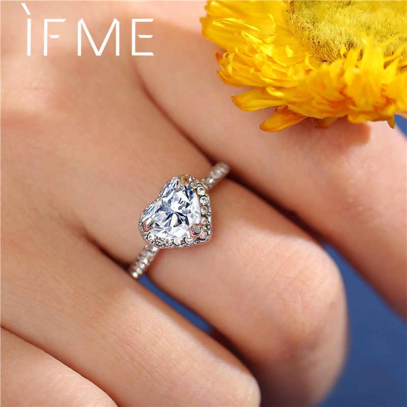 Als Me Trendy Classic Gold Sliver Kleur Kristal Ringen Voor Vrouw Charm Lovely Heart Ring Lady Trouwdag Sieraden Dropship