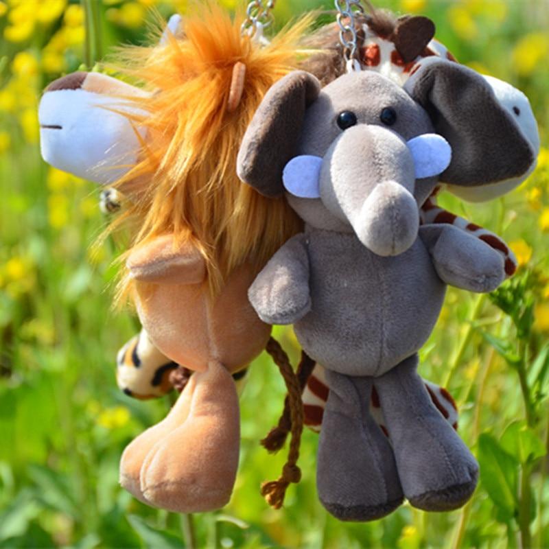 Jungle Animal Series Keychain Cartoon Action Figure Pendant Key Chain Stuffed Elephant Rhinoceros Tiger Doll Children Keyring
