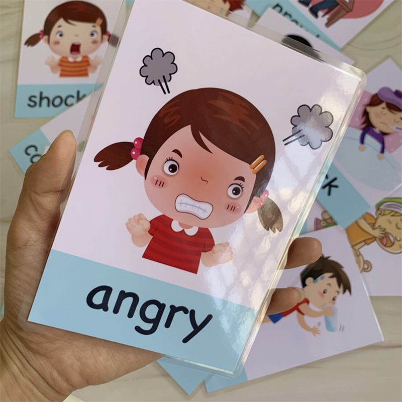 Montessori Baby Emotion Learning Card Cartoon English Emotion Flash Cards for Children Kids Funny Memory Exercise Game