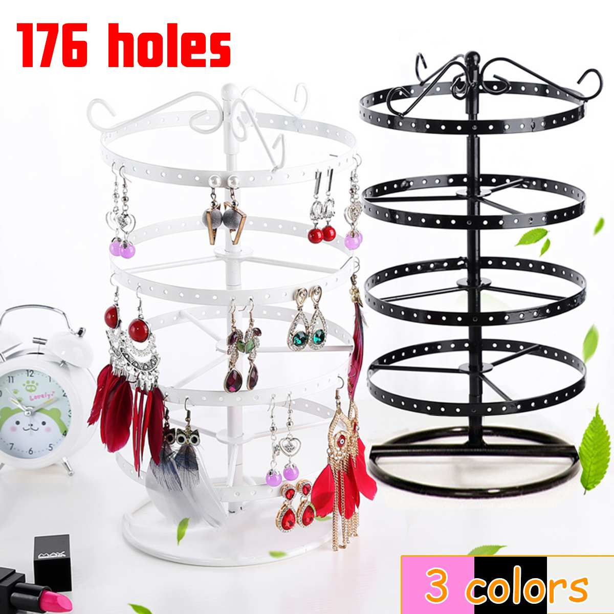 176 Hole Round Earrings Jewelry Display Rack 360 Rotating Ear Studs Stand Organizer Holder Display Showcase Shelf Hot Selling