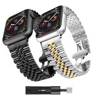 De Metal correa de reloj para Apple 6 5 4 SE banda 40mm 44mm Metal Correa iwatch 3 2 de 42mm de 38mm de Metal correa de acero inoxidable