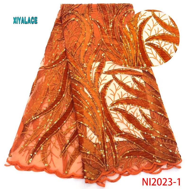 African Velvet Tulle Lace Sequins Net Lace Fabric 2019 High Quality Nigeria Guipure Mesh Gold Sequined Lace YANI2023-1