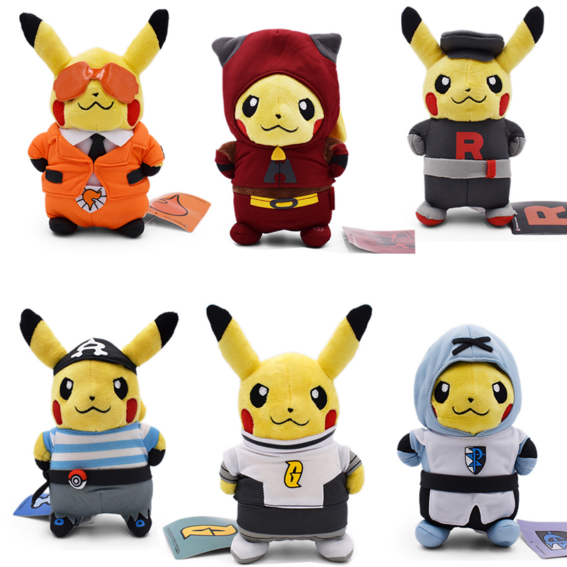 6 styles <font><b>Peluche</b></font> Pikachu Cosplay Team Rocket Magma Aqua Galactic Flare Plasma Stuffed Plush Cartoon Dolls Kids Gift Toy <font><b>20</b></font> <font><b>CM</b></font> image