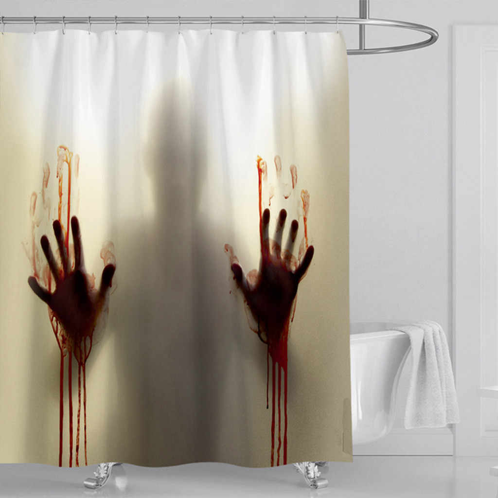 Halloween decoration 3D Digital Printing Blood Hand Waterproof Mildew Shower Curtain 2019 Party Decoration Home supplies Pendant